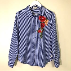 OVI floral embroidery blue/white striped shirt